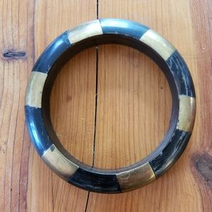 Vintage Boho Dyed Bone and Brass Bangle Bracelet